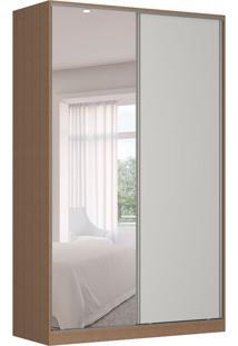 Guarda-Roupa Solteiro Com Espelho Tunas Iii 2 Pt 3 Gv Marrom E Branco