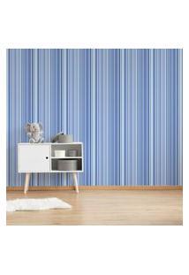 Papel De Parede Listrado Tons De Azul 57X270Cm