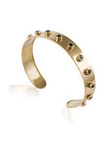 Bracelete Rivets Slim Amarelo C/Diamante Black - U