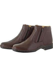 Bota Pessoni Boots & Shoes Social Em Couro Flother Ziper Lateral Marrom - Kanui