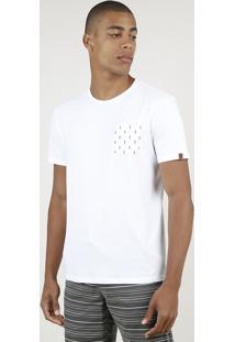 Camiseta Masculina Com Bolso Estampado De Flechas Manga Curta Gola Careca Off White