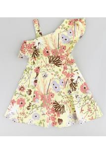 Vestido Infantil Evasê Um Ombro Só Estampado Floral Com Babado Amarelo