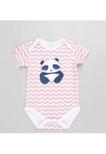 Body Infantil Panda Estampado Chevron Manga Curta Rosa