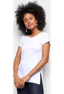 Camiseta Dooplex Alongada Fenda Feminina - Feminino-Branco