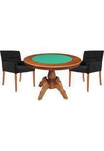 Mesa De Jogos Carteado Redonda Montreal Tampo Reversível Amêndoa Com 2 Cadeiras Vicenza Preto Fosco - Gran Belo