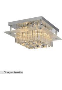 Plafon Dublin- Cristal & Prateado- 16X39X39Cm- Bhevvy