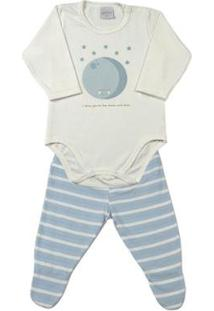 Pijama Bebê Cotton E Listrado Ninare Lua Masculino - Masculino-Azul