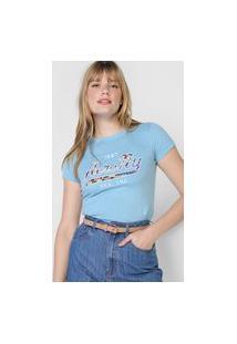 Camiseta Aeropostale Bordada Azul