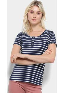 Camiseta Top Moda Listrada Feminina - Feminino-Marinho+Branco