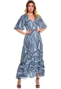 Vestido Bisô Midi Babado Feminino - Feminino-Azul