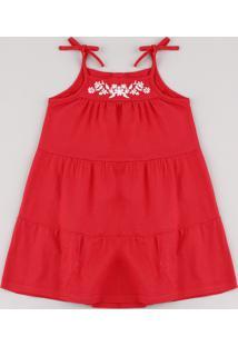 Vestido Infantil Com Recorte E Bordado Floral Alça Fina Vermelho