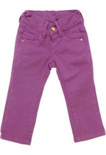 Calça Jeans Infantil Carinhoso Botão Feminina - Feminino-Lilás