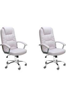 Conjunto Com 2 Cadeiras De Escritório Presidente Giratórias Finland Branco