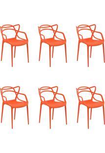 Kit 6 Cadeiras Decorativas Sala E Cozinha Feliti (Pp) Laranja - Gran Belo - Laranja - Dafiti