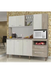 Cozinha Compacta 7 Portas Jade Kits Paraná Nogal Arena Com Cp-Nogal