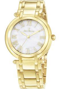 Relógio Analógico Jv01001- Dourado & Branco- Jean Vejean Vernier