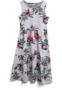 Vestido Brandili Floral Cinza