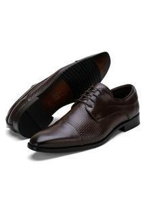 Sapato Social Fepo Store Couro Texturizado Palmilha Espumada Marrom