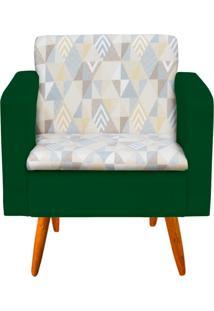 Poltrona Decorativa Emília Linho A17 Com Suede Verde - D'Rossi