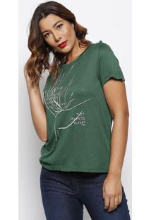 Camiseta ''A Letter''- Verde Escuro & Branca- Forumforum