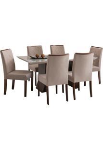 Conjunto Sala De Jantar Mesa + 6 Cadeiras Delazari Canadá, Imbuia - 139048