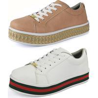 d9716c965 Kit Sapatenis Confort Flatform Cr Shoes Nude E Branco E Vermelho