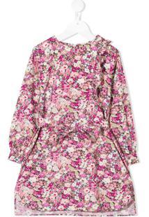 Bonpoint Vestido Assimétrico Com Babados - Rosa
