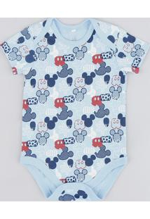 Body Infantil Estampado Do Mickey Manga Curta Gola Careca Azul Claro