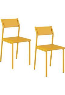 Kit Com 2 Cadeiras Sofia Amarelo - Carraro