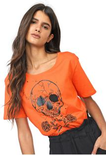 Camiseta Cavalera Skull And Roses Laranja