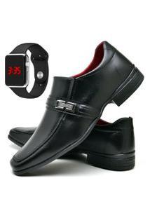 Sapato Social Fashion Com Relógio Led Silver Dubuy 827El Preto