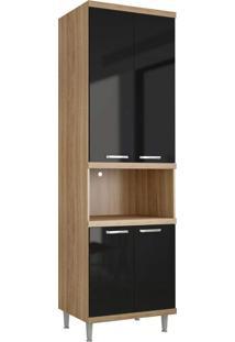 Módulo Para Forno 4 Portas Sicília Argila-Texturizada E Preto-Brilho Multimóveis