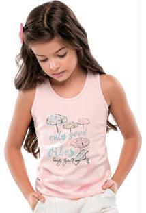 Blusa Regata Estampada Rosa Infantil Quimby f86669a6d2d