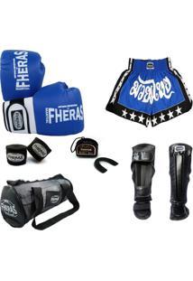 Kit Muay Thai Luva Bandagem Bucal Shorts Bolsa Caneleira 08 Oz - Masculino
