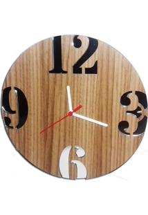 Relógio De Parede Em Madeira Mdf Laminado Com Números Espelhados Decoramix