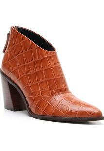 Ankle Boot Em Couro Com Recorte - Marrom Claro- Saltvicenza