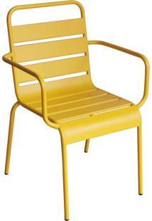 Cadeira Tropical Com Braços Amarela