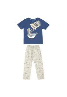 Pijama Juvenil Abrange Tubarão Azul E Mescla Abrange Casual Azul