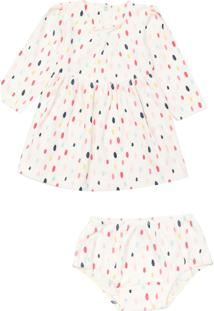 Vestido Tip Top Infantil Bolinhas Off-White