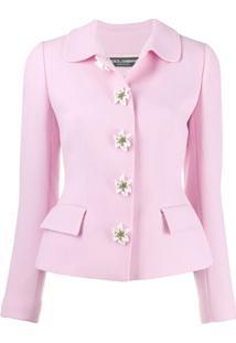 Dolce & Gabbana Jaqueta Com Aplicações De Flores - Rosa