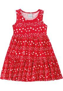Vestido Evasê Com Strass Infantil Malwee Kids Vermelho - G