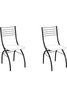 Conjunto Com 2 Cadeiras Devon Branco E Preto