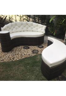 Chaise Dubai C/ Encosto - Tecido Náutico Bege Liso - Decora Na Net