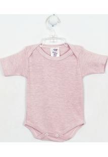 Body Bebê Feminino Mescla Manga Curta Rosa-P - Feminino