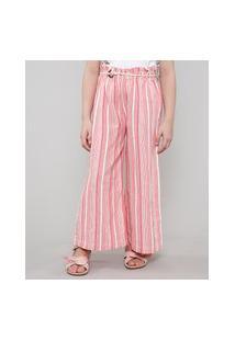 Calça Infantil Pantalona Listrada Com Cinto Bege