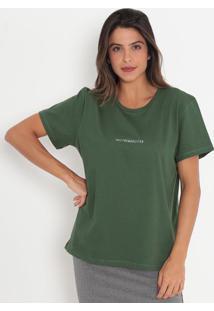 "Camiseta ""Trendsetter""- Verde Escuro & Branca- Colcccolcci"