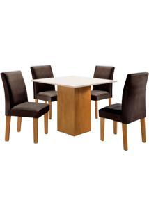 Conjunto De Mesa De Jantar Dakota Com 4 Cadeiras Classic Ll Suede Off White E Marrom
