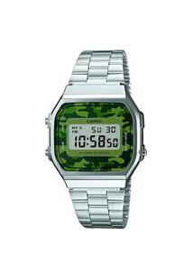 Relógio Digital Casio Unissex Camuflado A168Wec3Df Prateado