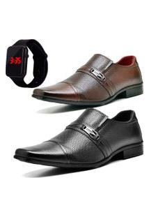 2 Pares Sapato Social Fashion Com Relógio Led Dubuy 710El Preto