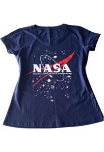 Camiseta Nasa Feminina - Feminino-Azul